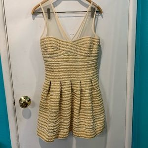 Wow couture gold mesh straps dress